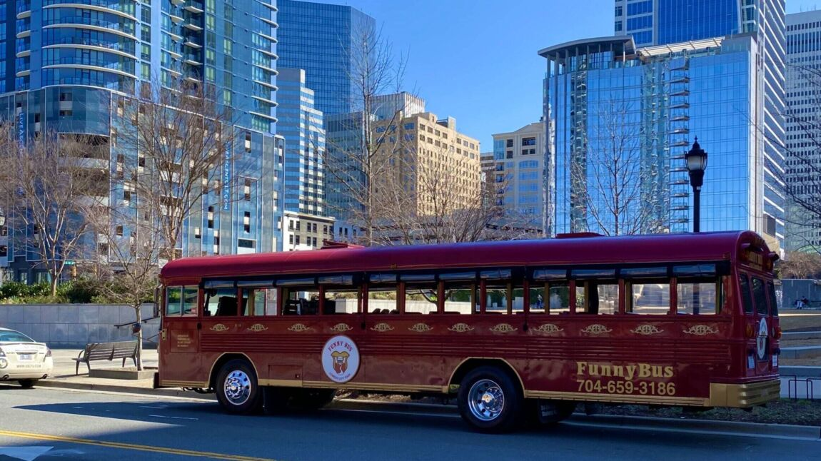 Funny Bus in front of Romare Beardon Park.