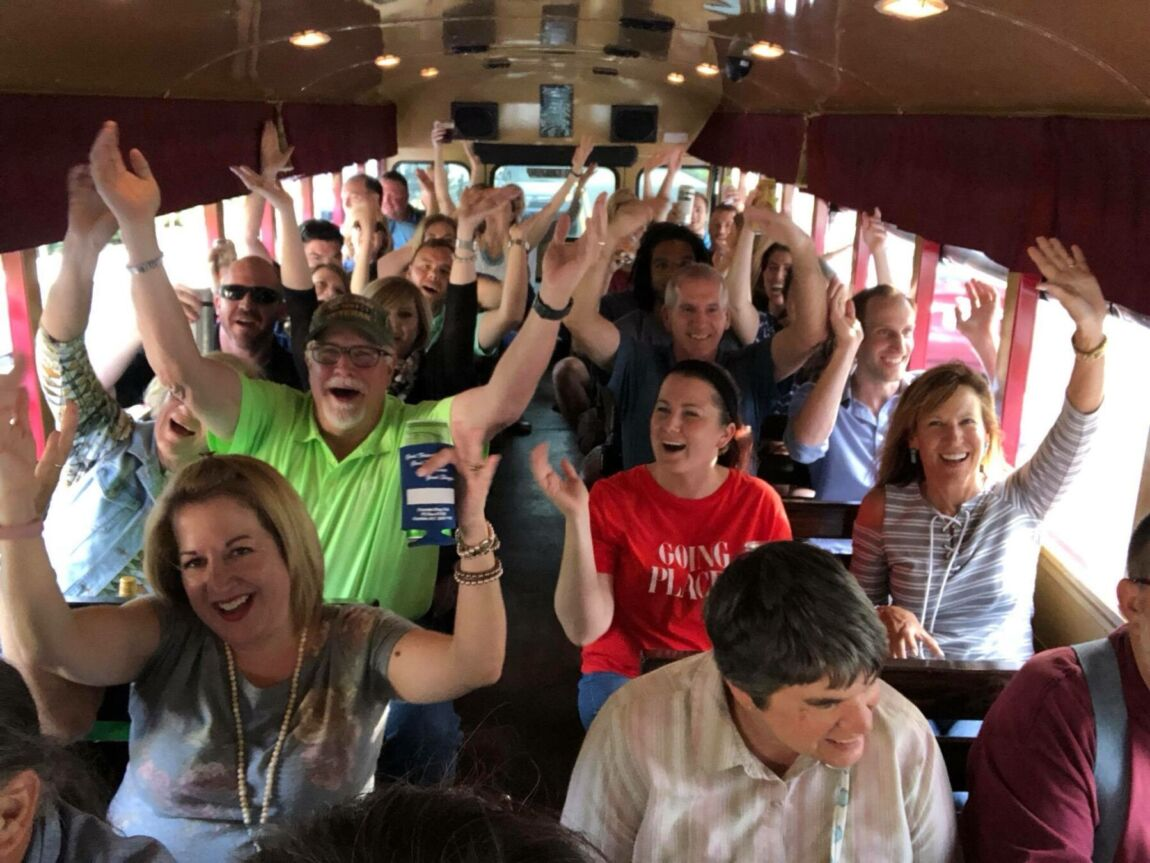 Singing YMCA on the Funny Bus.
